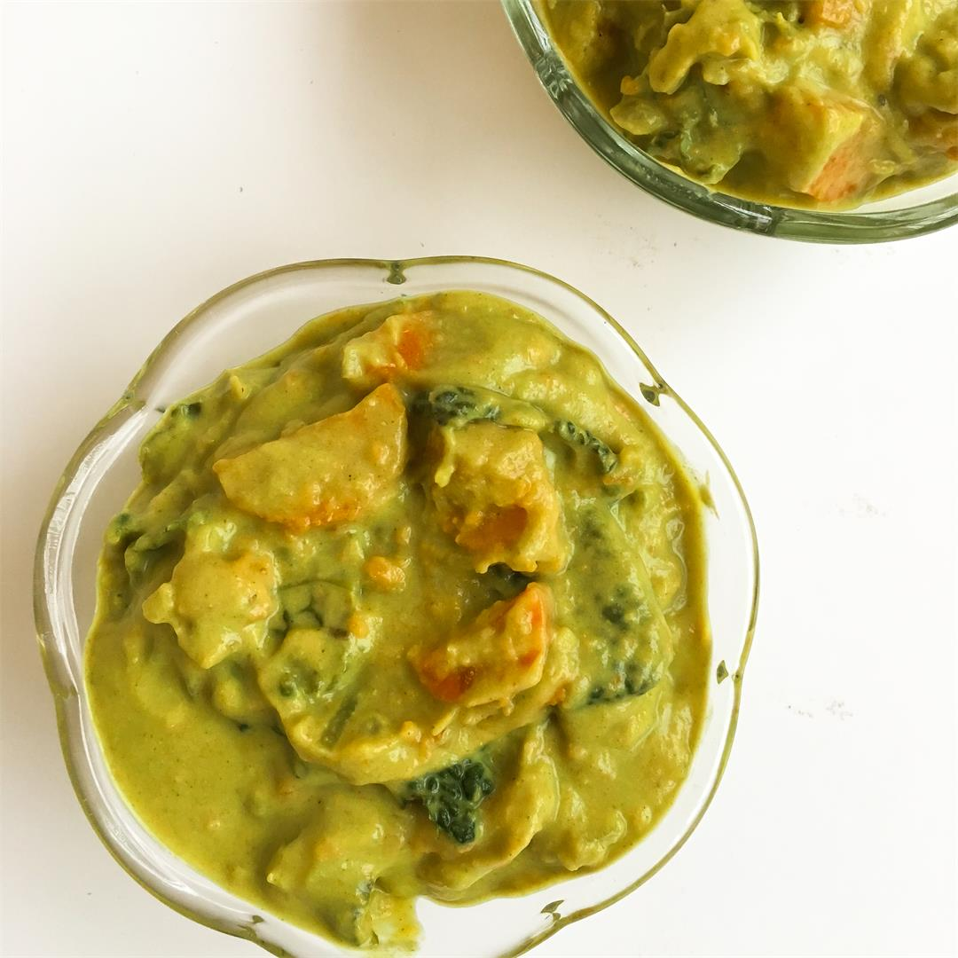 Creamy Broccoli Kale Soup with Roasted Sweet Potato (Vegan)
