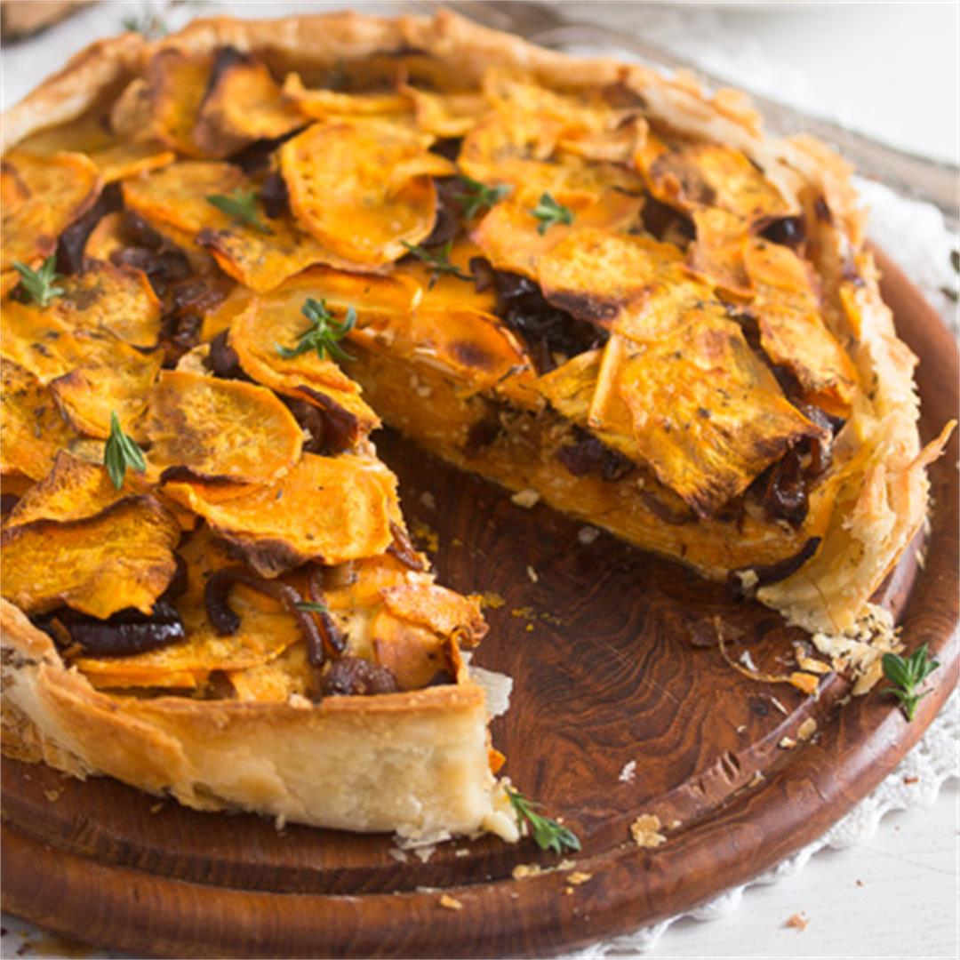 Puff Pastry Pie with Roasted Sweet Potatoes