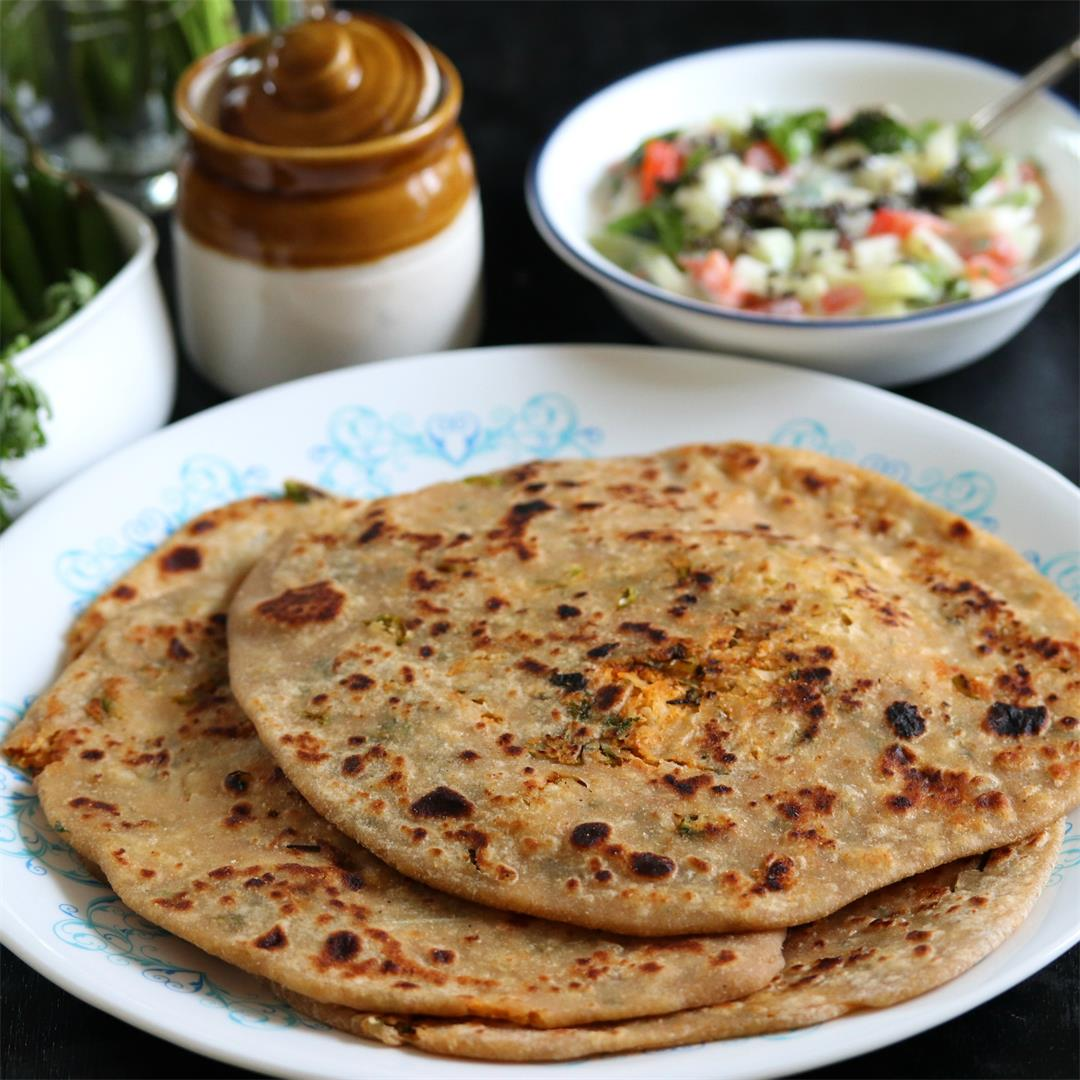 Mooli Paratha or Stuffed Flatbreads with Spicy Radish Mix