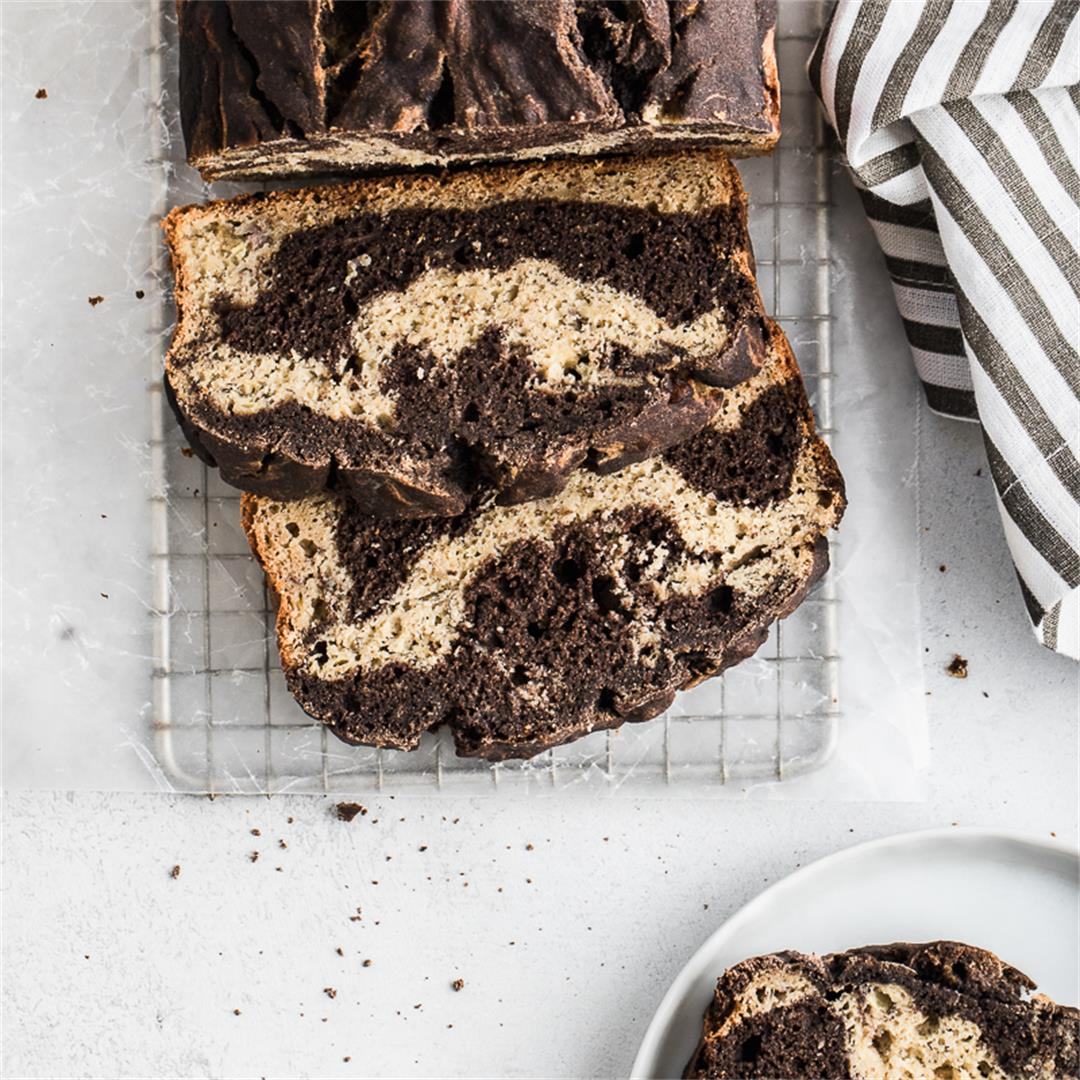 Healthy Chocolate Marble Banana Bread