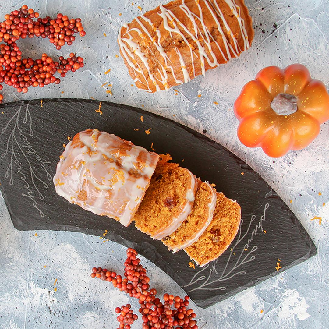 Pumpkin Bread with Orange Chocolate Cream Glaze