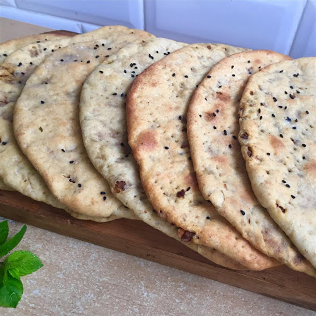 Spicy Keema Stuffed Naan Bread with Mint