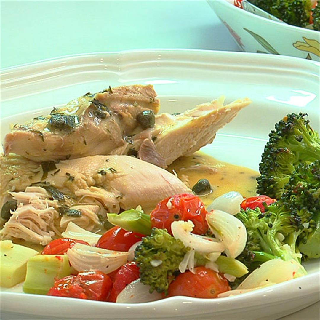Whole Poached Chicken With Tarragon Mustard Sauce