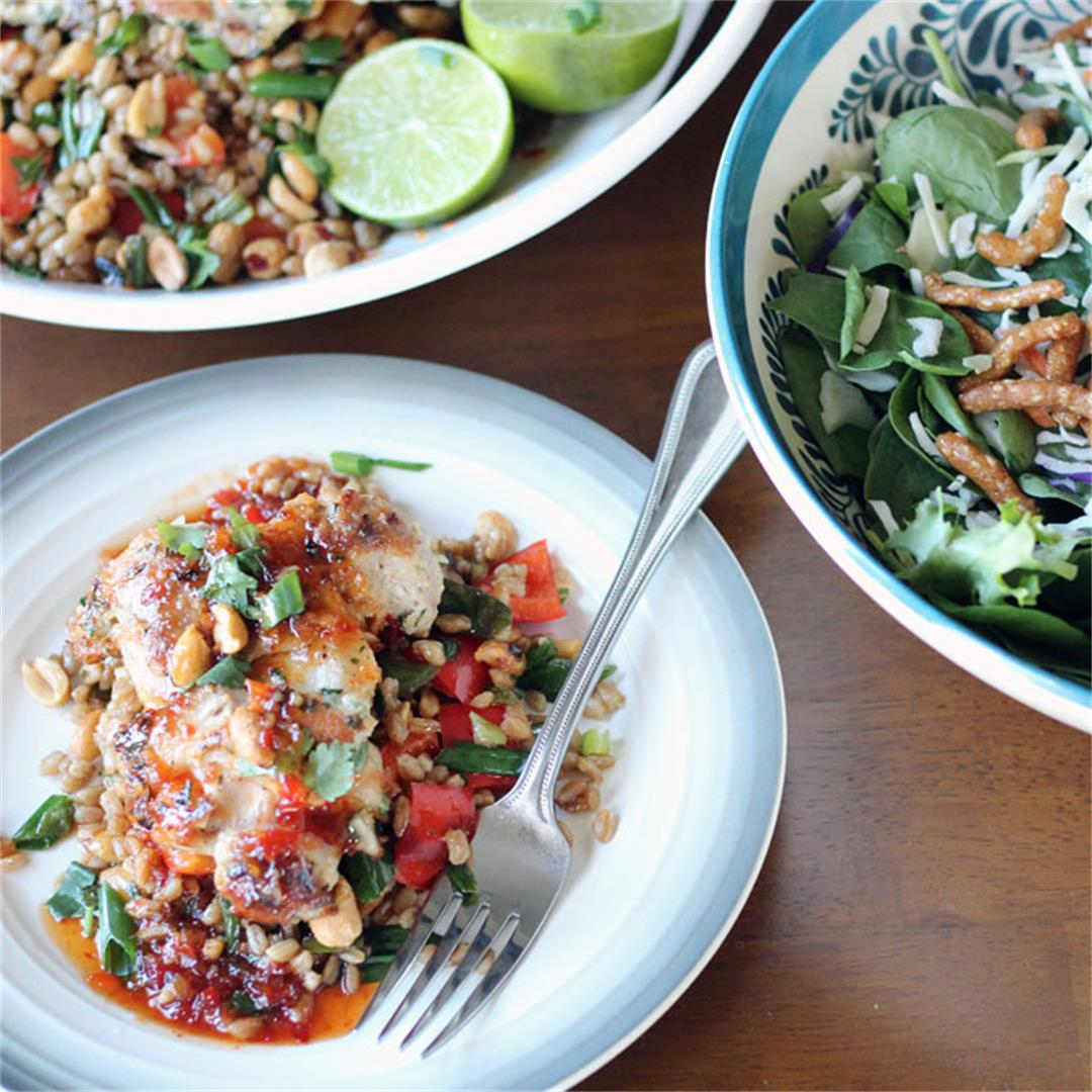 Tahini Chicken with Crispy Farro and Asian Salad