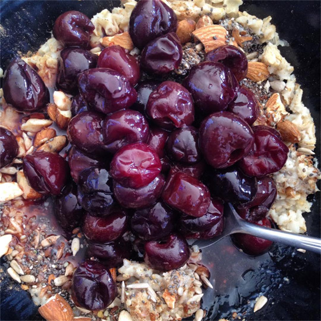Cherry Almond Microwave Oatmeal Bowl