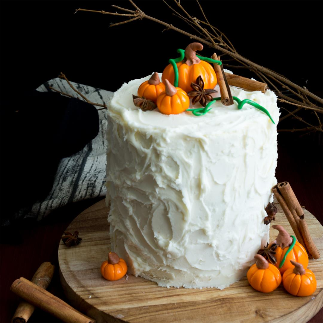 Pumpkin Spice Latte Cake with Maple Buttercream Frosting