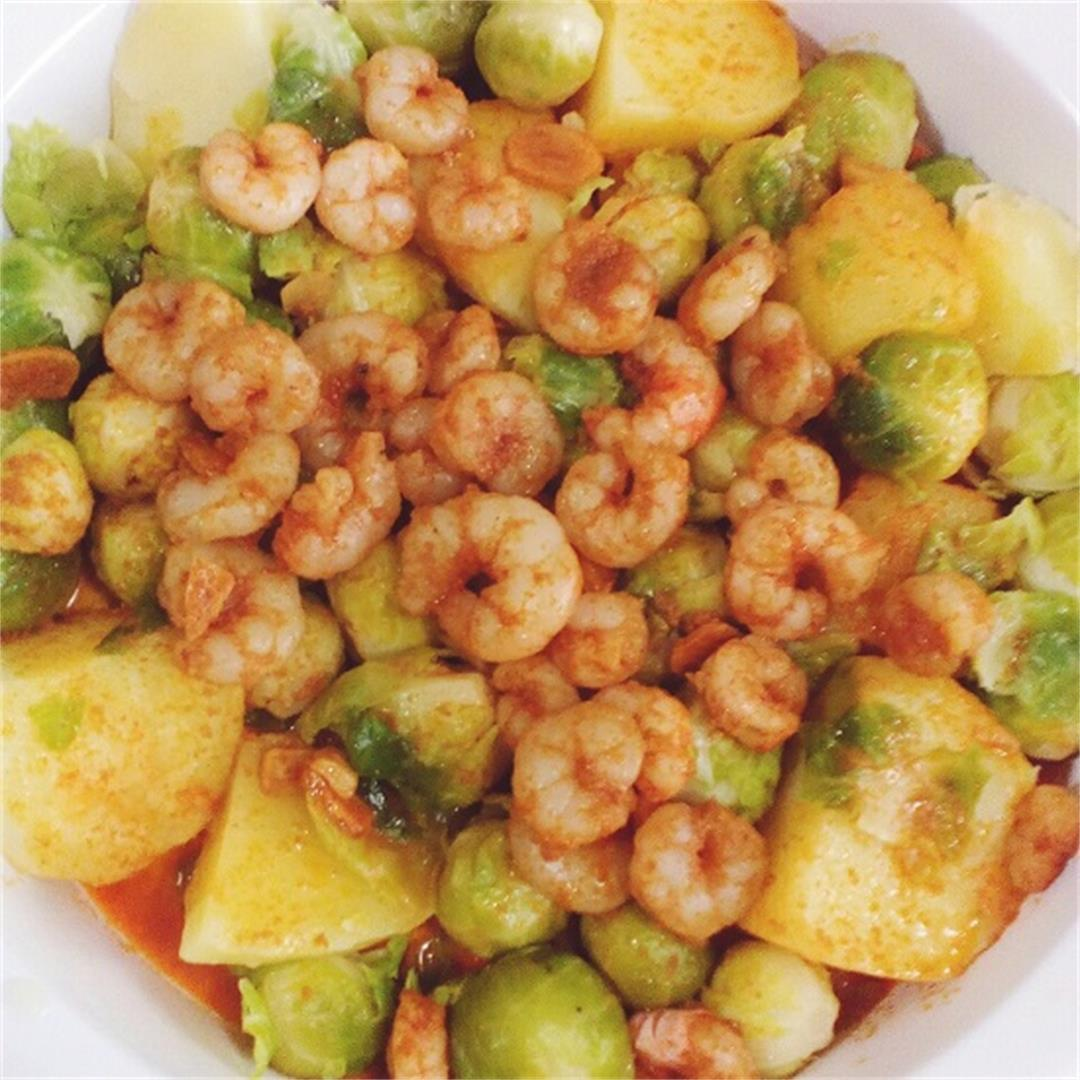 Brussel Sprouts & Prawns