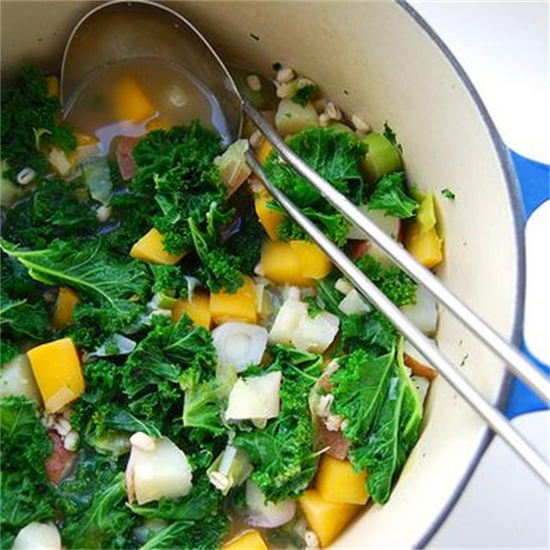 'Winter Cure' Kale, Barley & Root Vegetable Soup