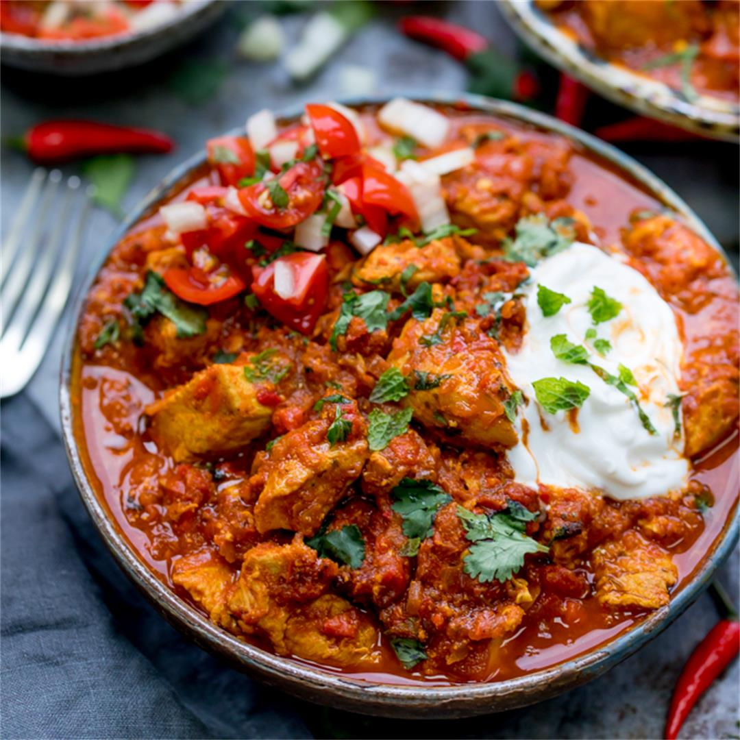 Healthier Slow Cooked Spicy Chicken Rogan Josh