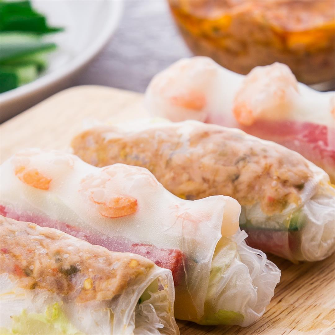 Vietnamese Spring Rolls: Shrimp and Spicy Tuna