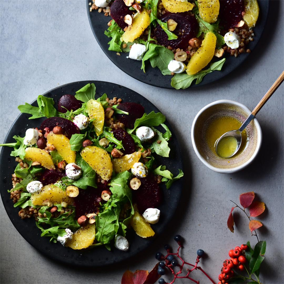 Buckwheat salad with roasted beets, orange, feta and rocket
