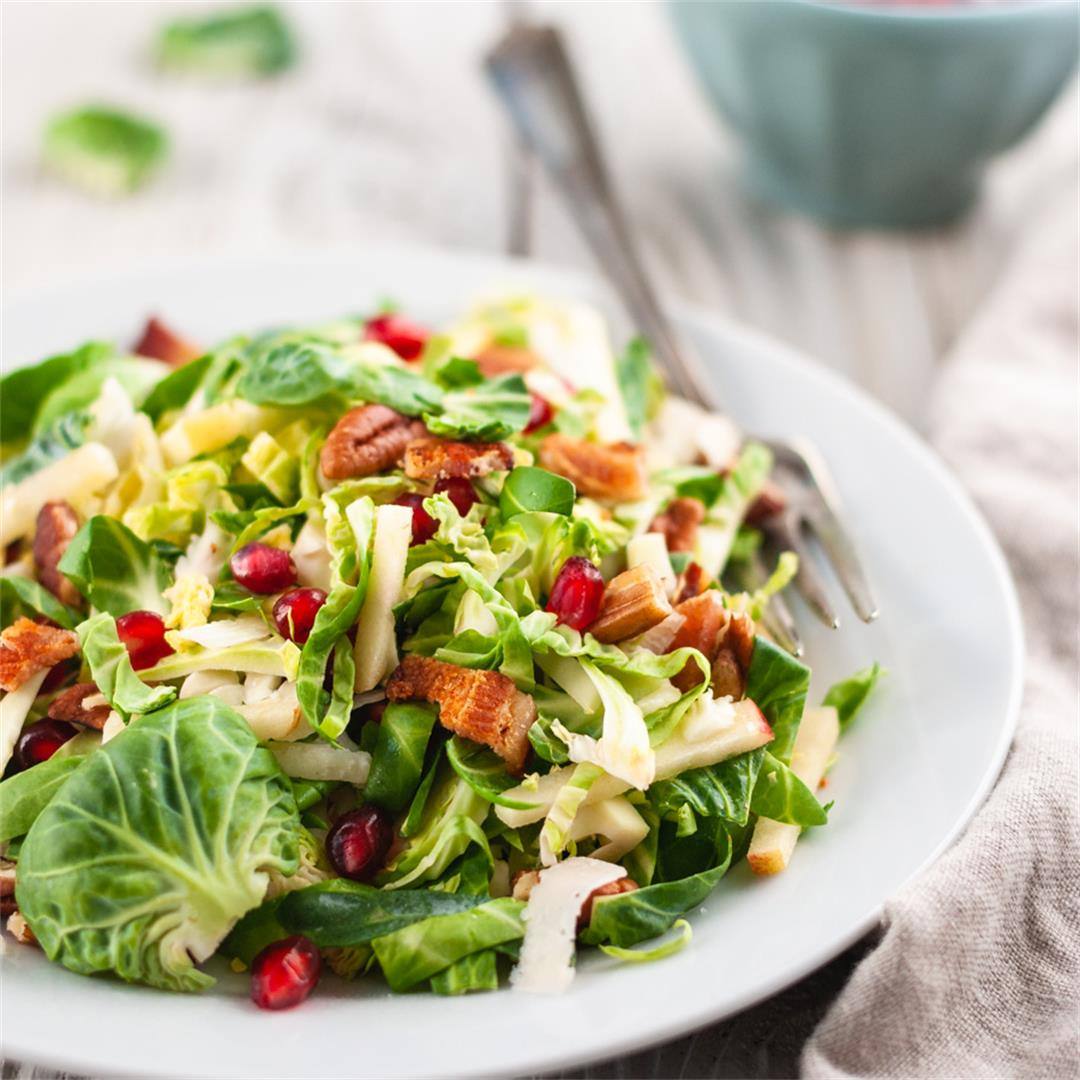 Brussels Sprout Salad with Pomegranate and Bacon