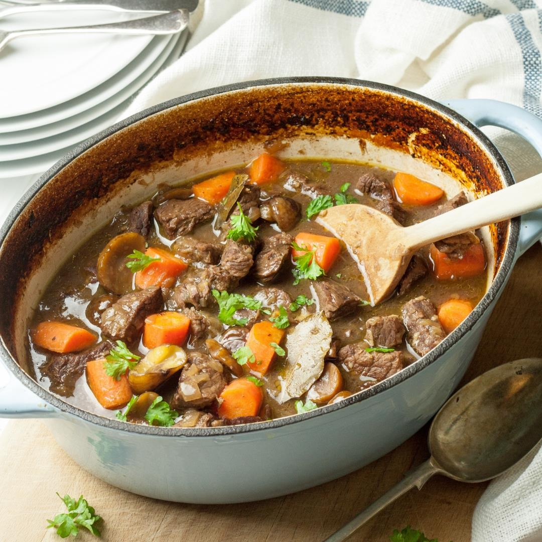 Beef, Chestnut and Red Wine Casserole