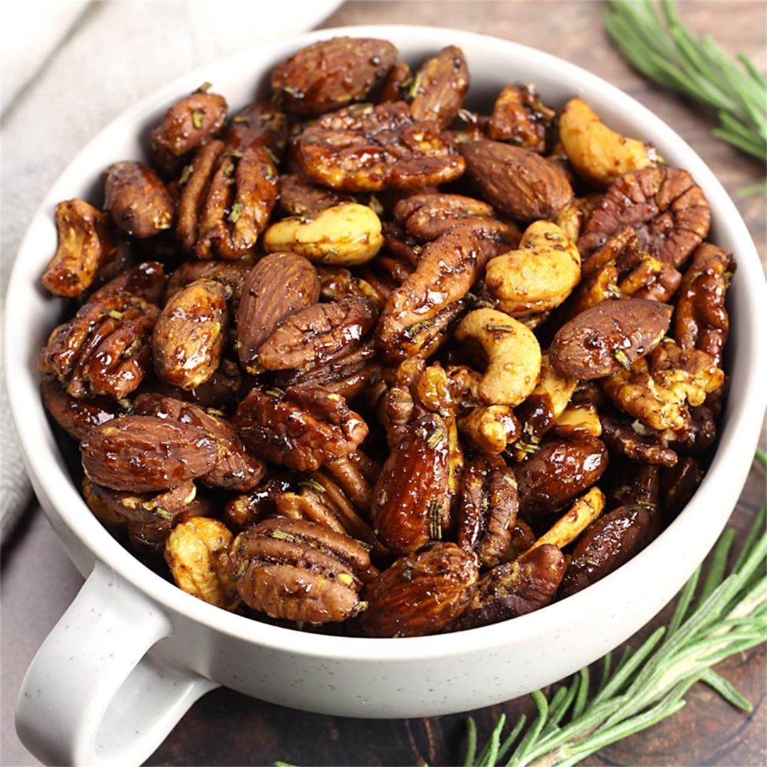 Savory Rosemary Roasted Mixed Nuts