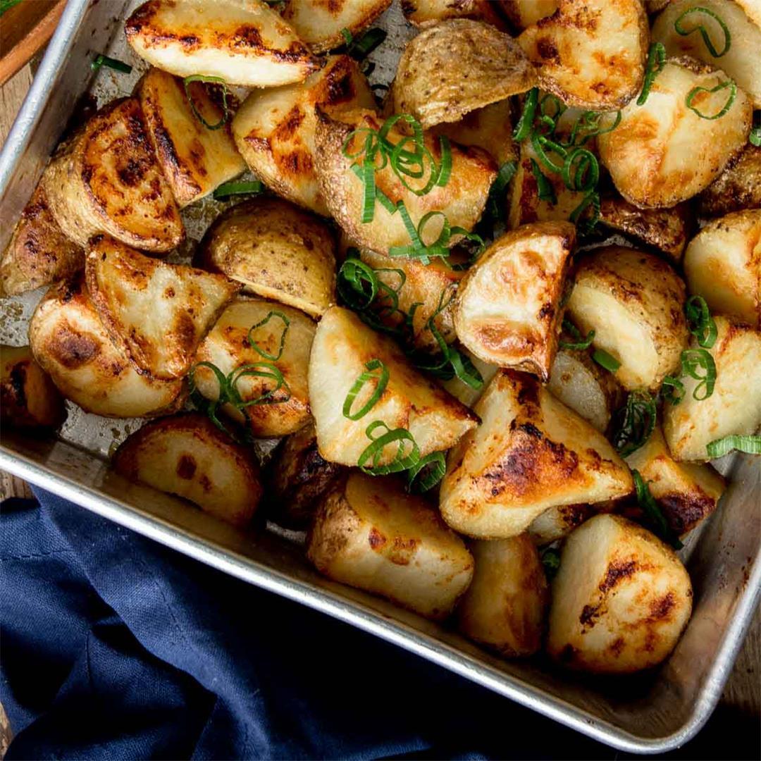 Honey Miso Garlic Roasted Potatoes