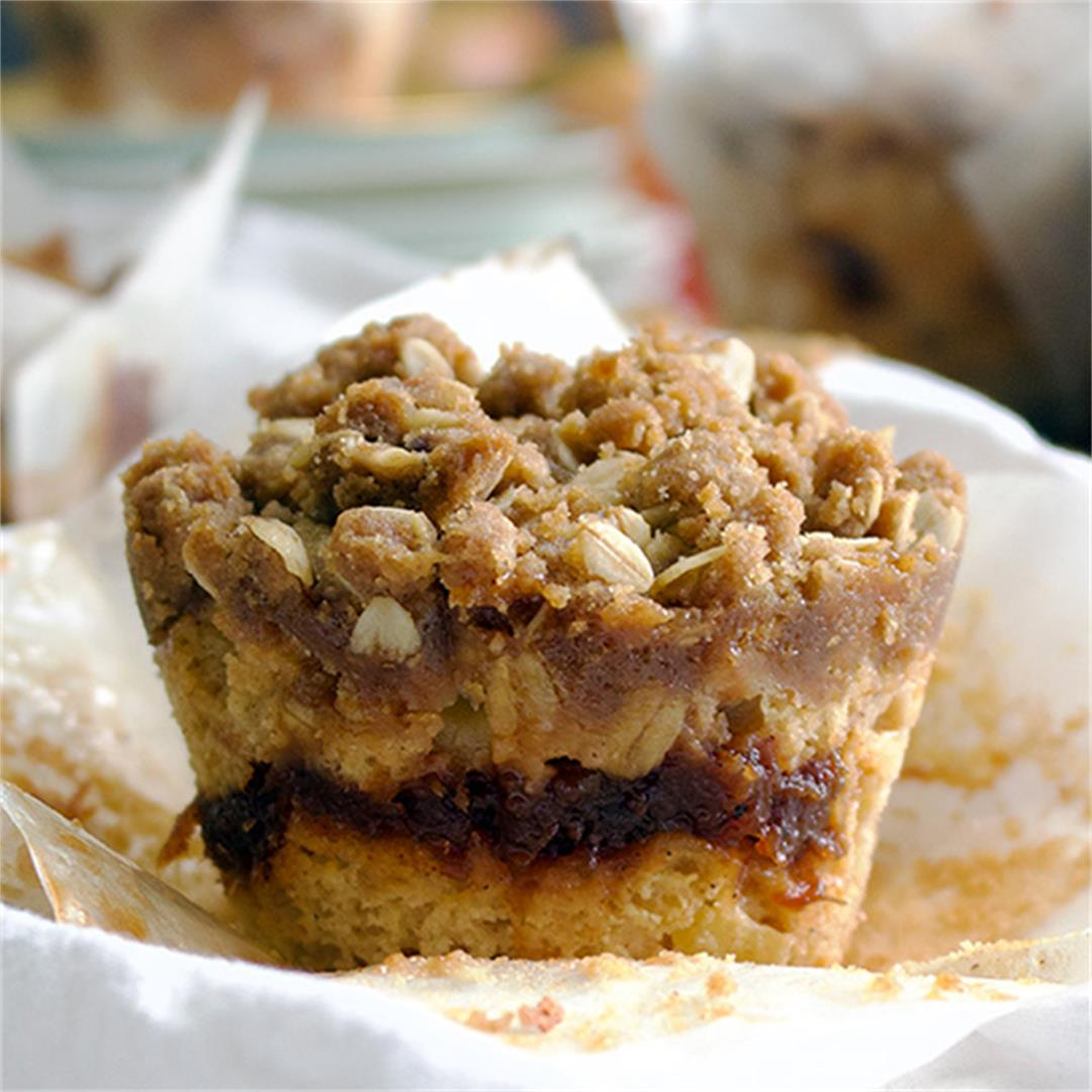 Apple cinnamon muffins with apple butter and streusel.