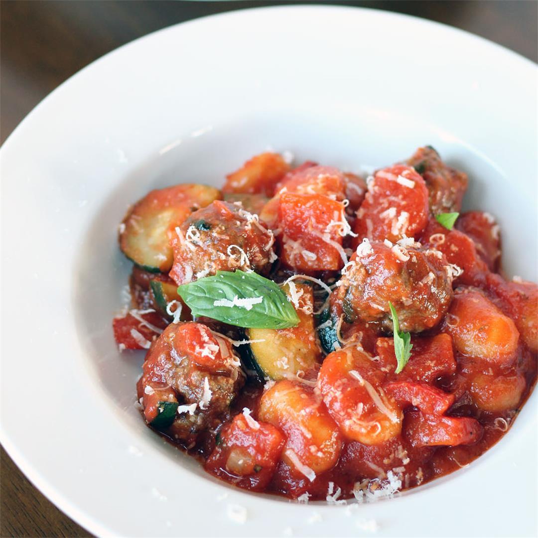 Mini Meatballs with Gnocchi and Zucchini