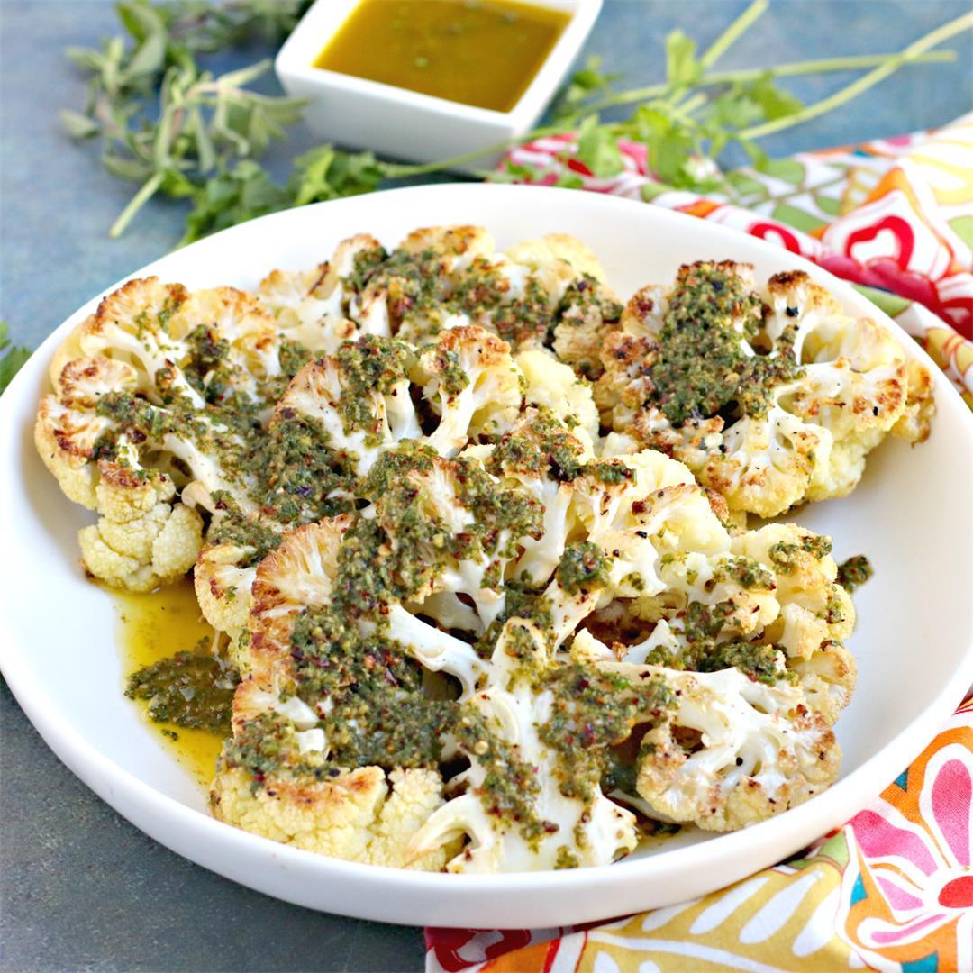 Roasted Cauliflower Steaks with Chimichurri