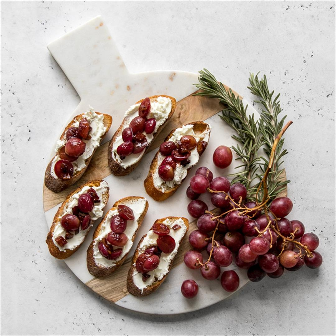 Grape and Goat Cheese Crostini with Pancetta