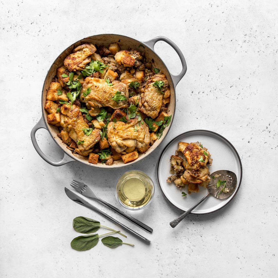 One Pot Chicken and Stuffing with Sausage