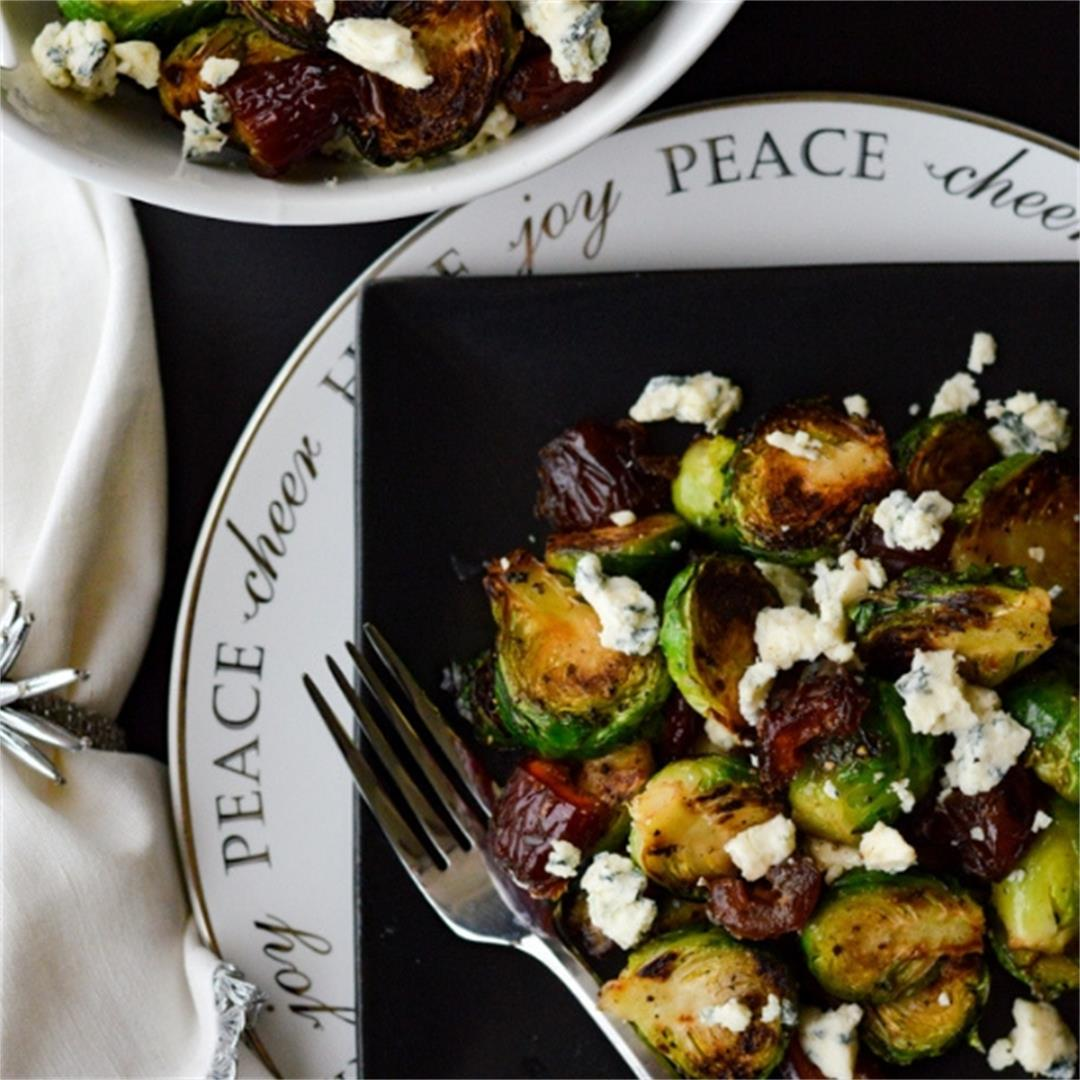 Pan Roasted Brussel Sprouts with Medjool Dates and Blue Cheese