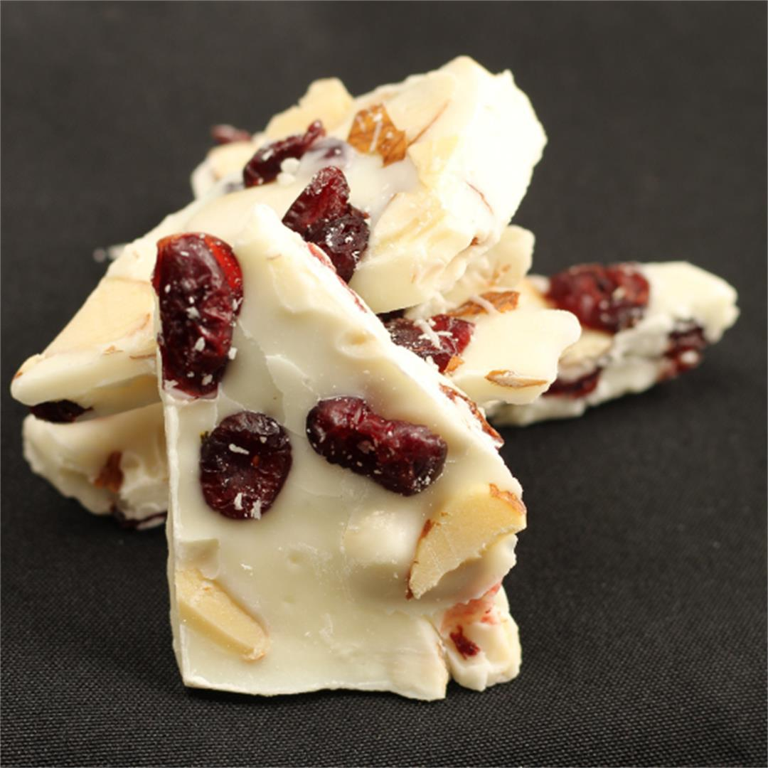 Cranberry Almond White Chocolate Bark