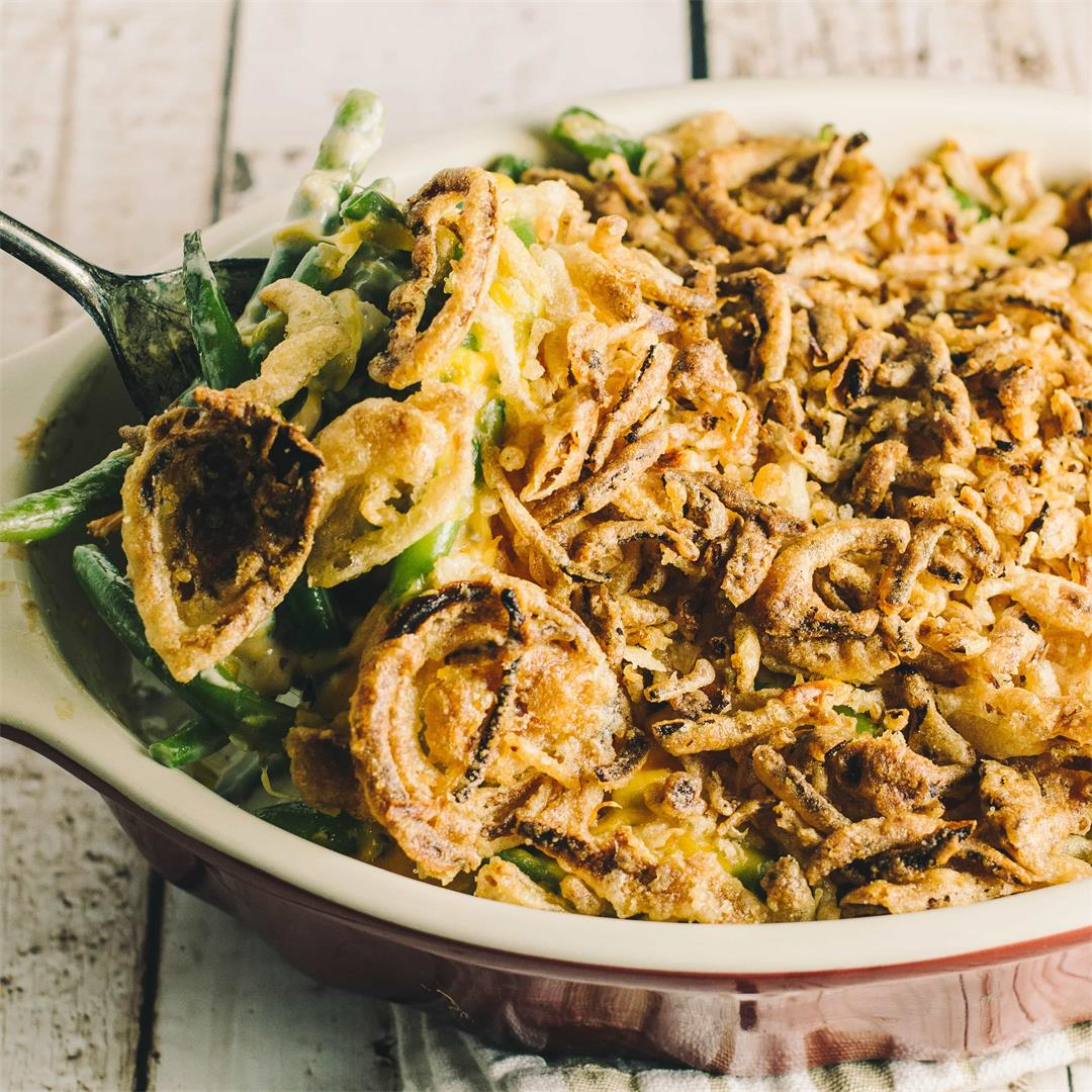 Green Bean Casserole with Cheddar Cheese