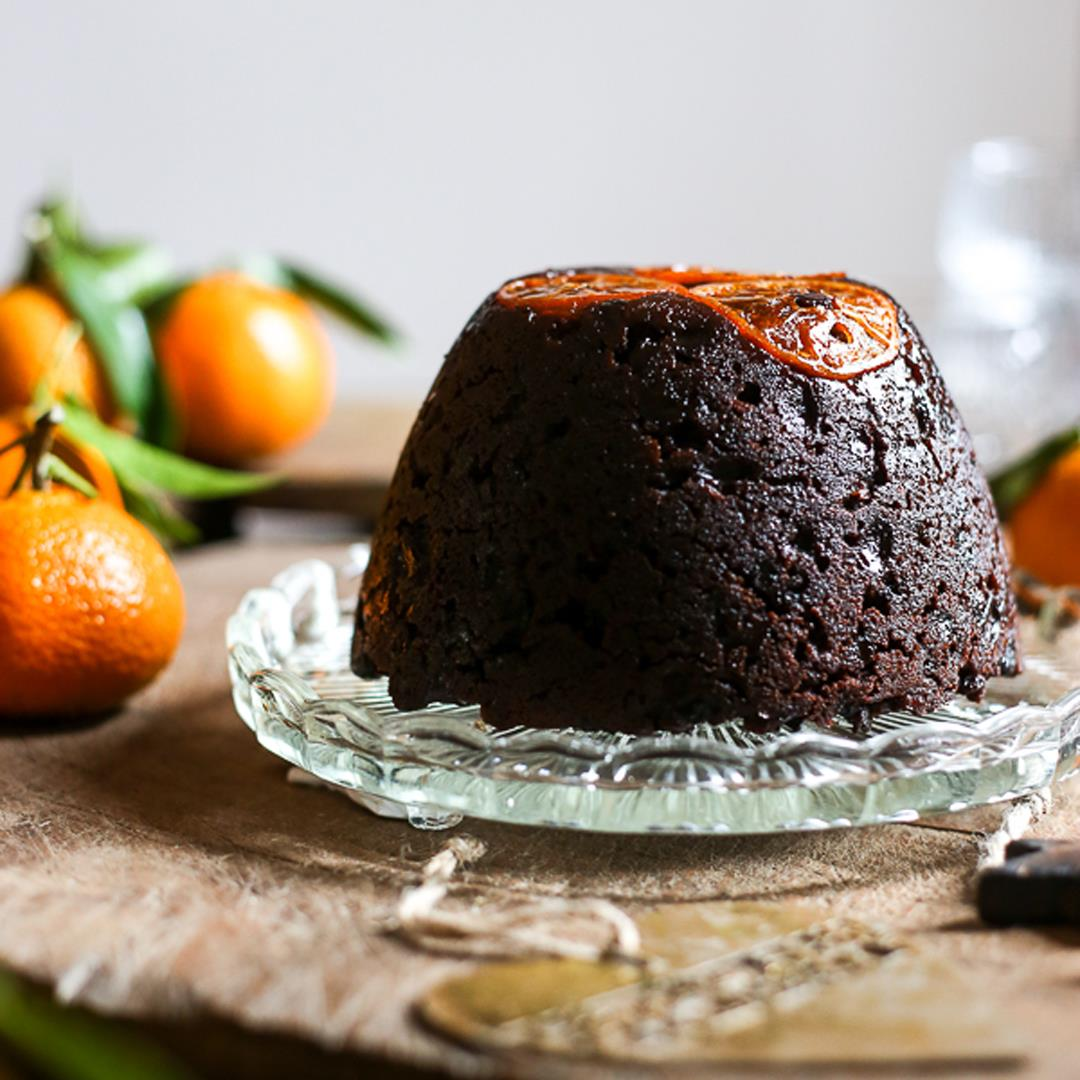 Chocolate Chip Clementine Christmas Pudding {gluten-free}