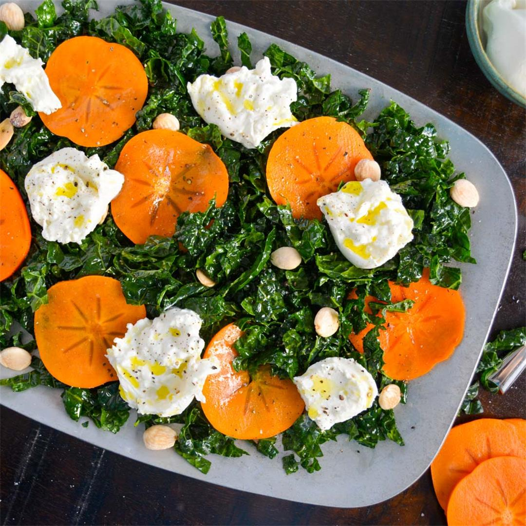 Kale Salad with Persimmon & Burrata
