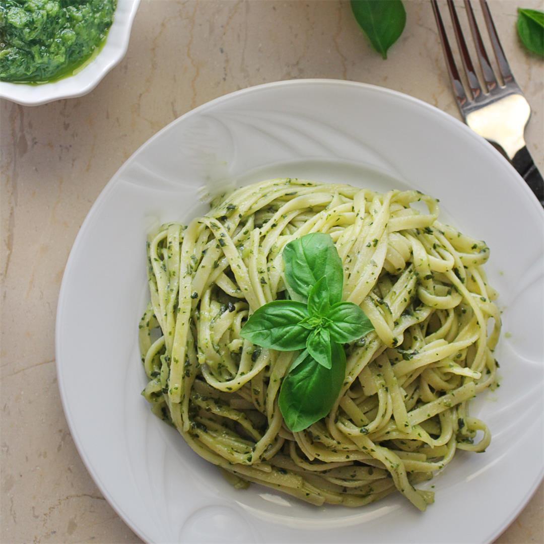 Traditional Basil Pesto Pasta (a secret ingredient)