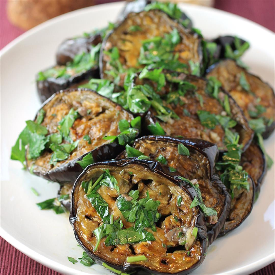 Roasted Eggplant with Anchovies and Oregano