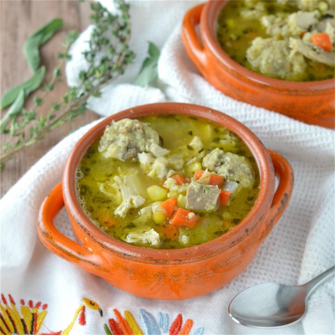 Turkey Stuffing Dumplings Soup