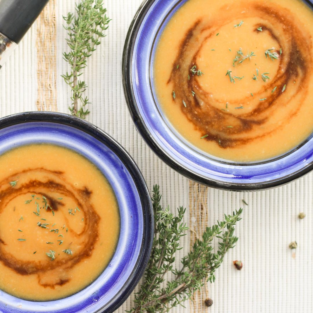 This carrot-parsnip soup is warm, comforting, & delicious.