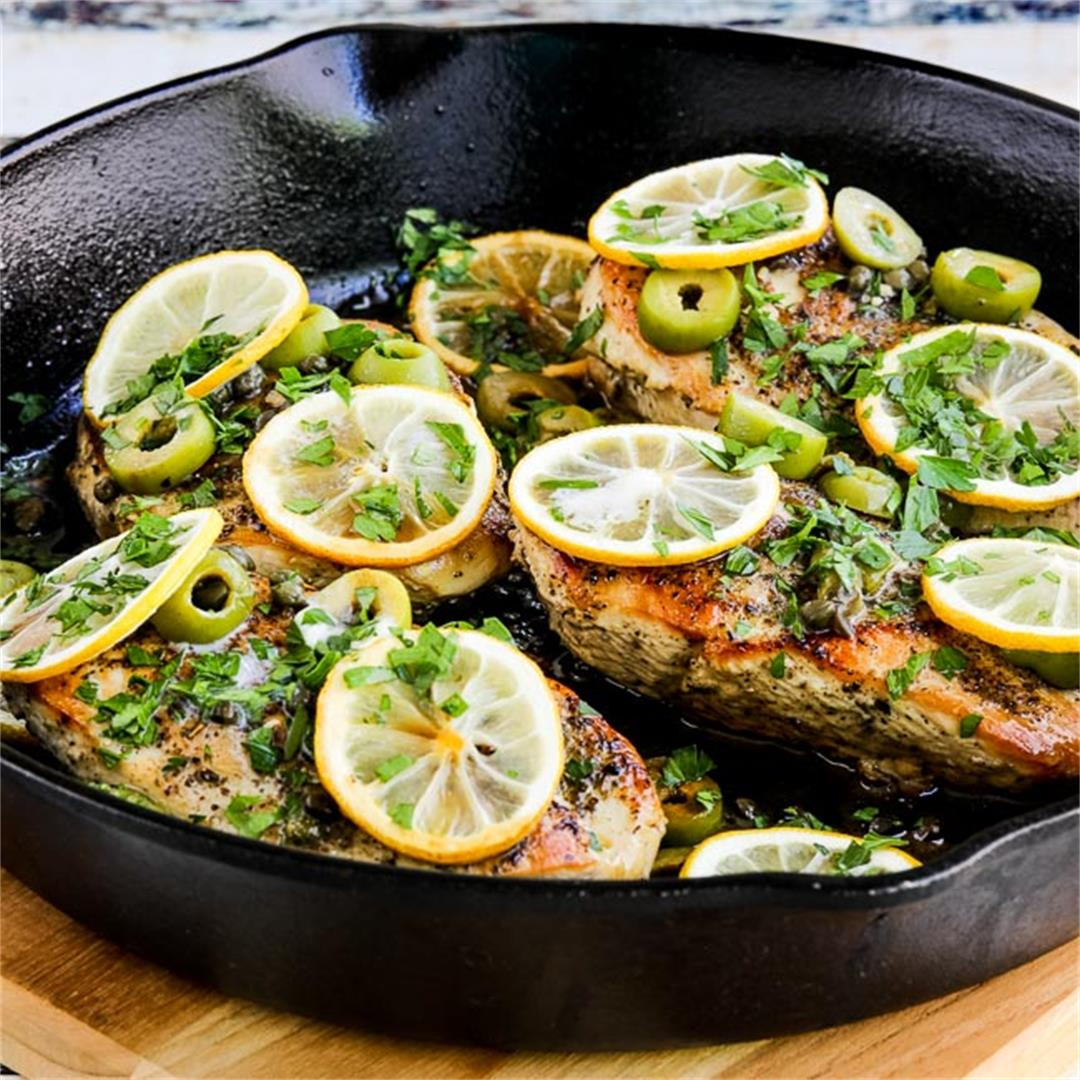 Low-Carb Skillet Chicken with Roasted Lemons and Green Olives