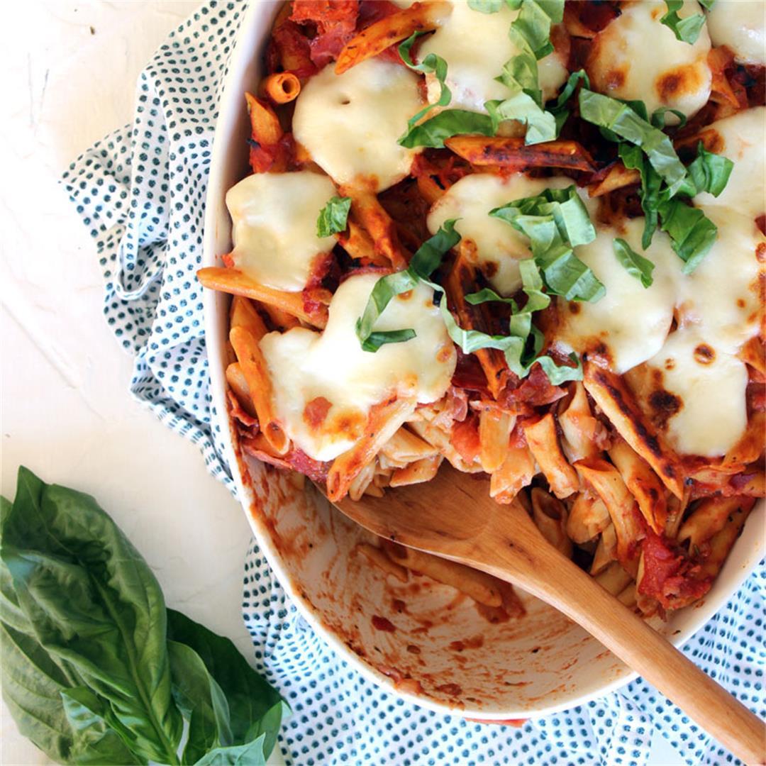 Penne Prosciutto Pasta with Creamy Mozzarella