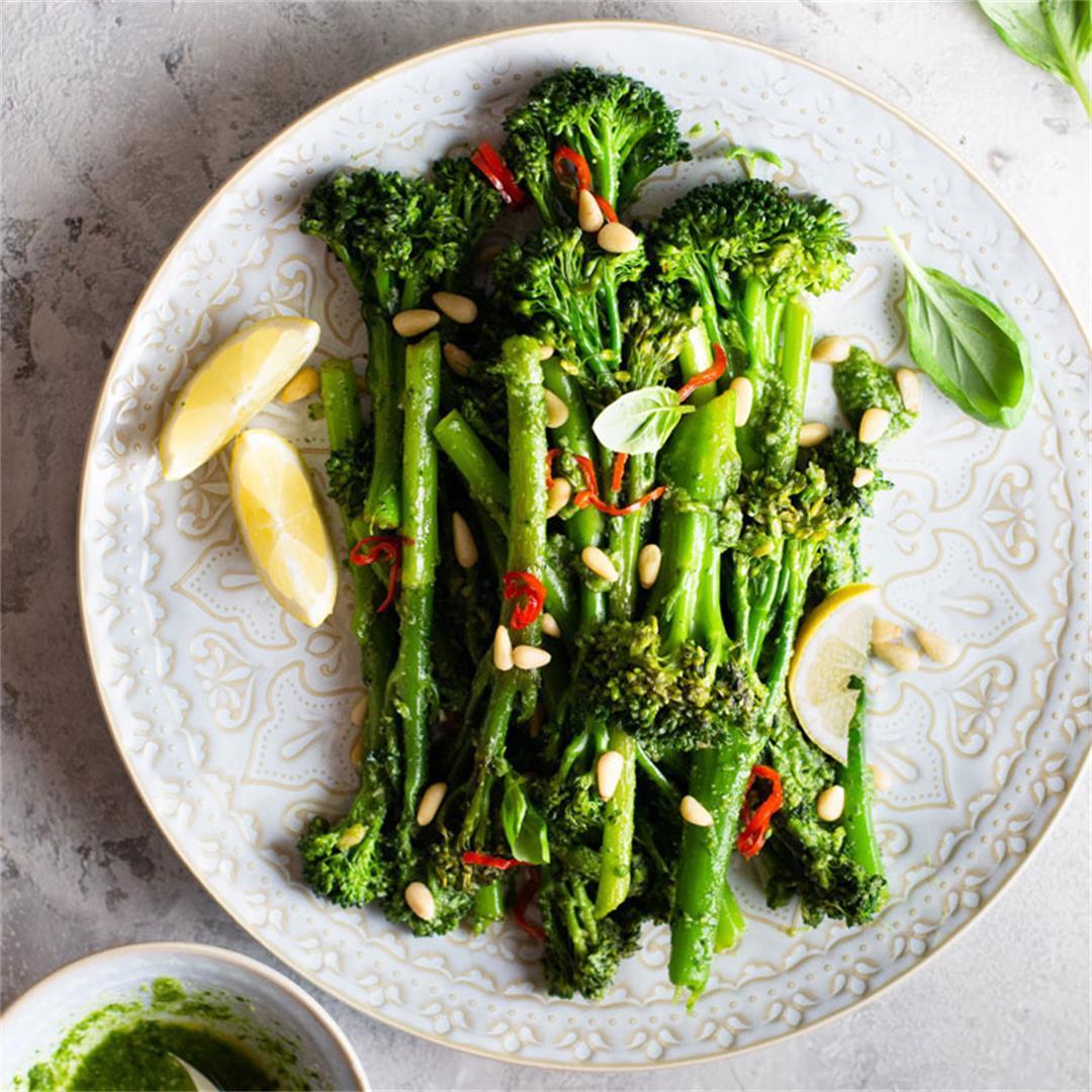 Sauteed Broccolini with Pesto, Pine Nuts and Chilli