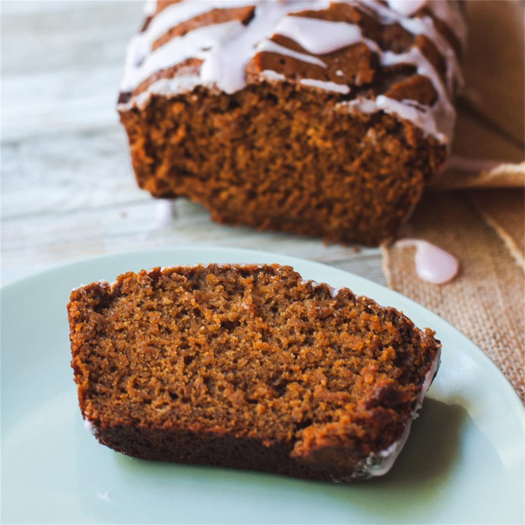 Vegan Gingerbread Loaf with Cranberry Glaze