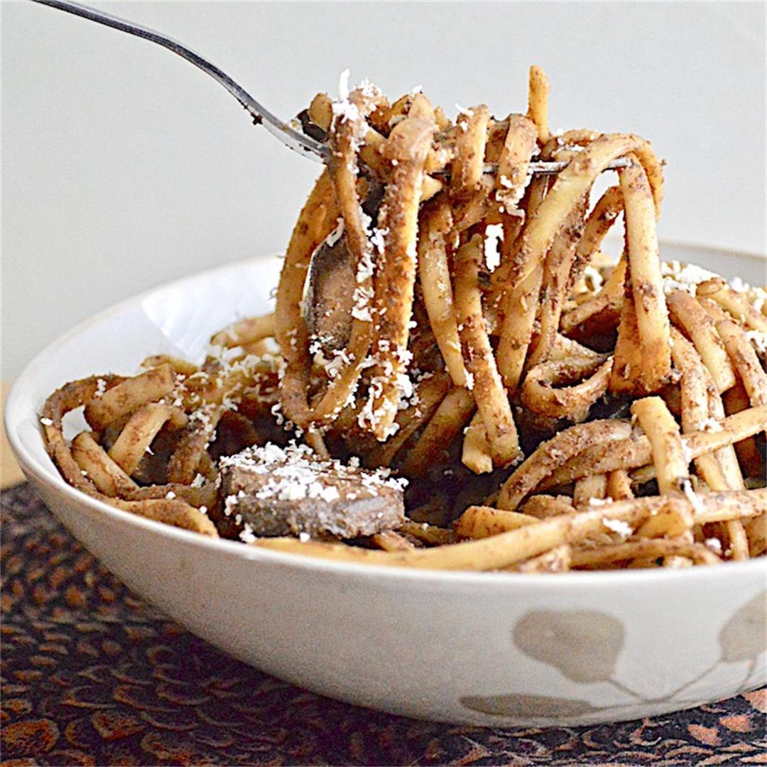 Mushroom and Chicken Sausage Balsamic Pasta