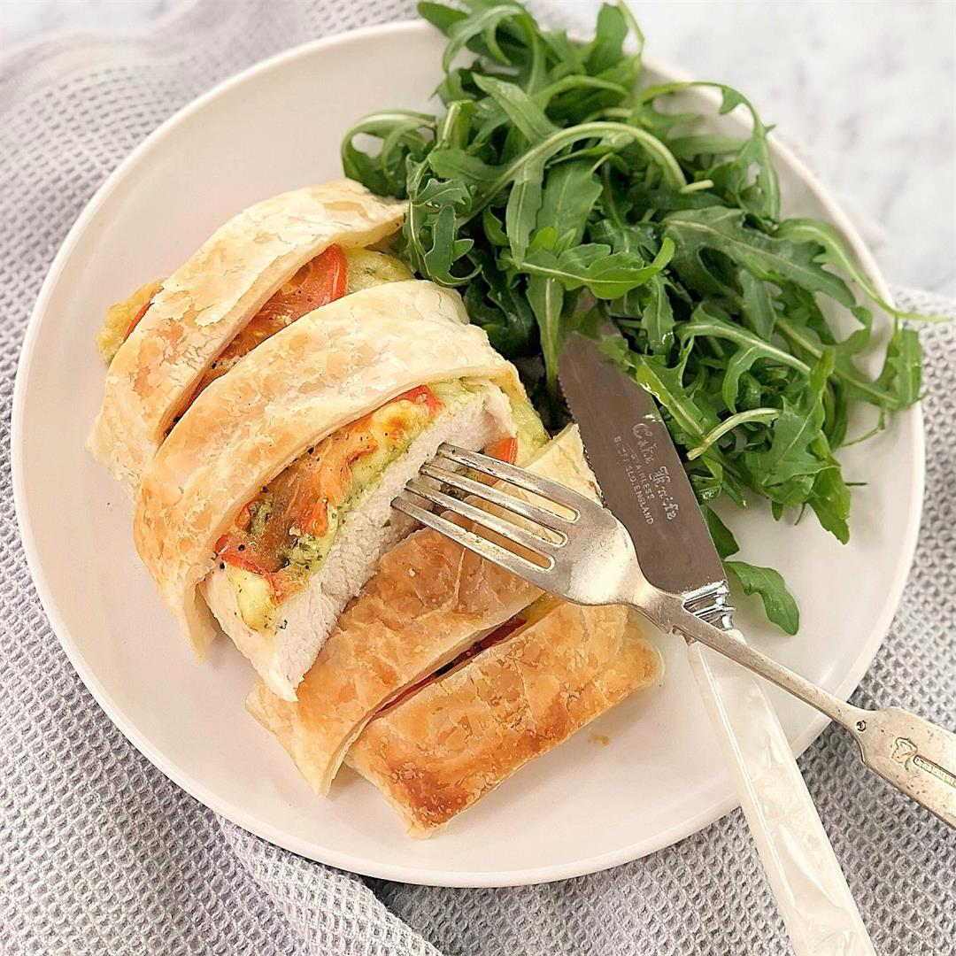 Baked Mozzarella Chicken Breast with Pastry & Pesto
