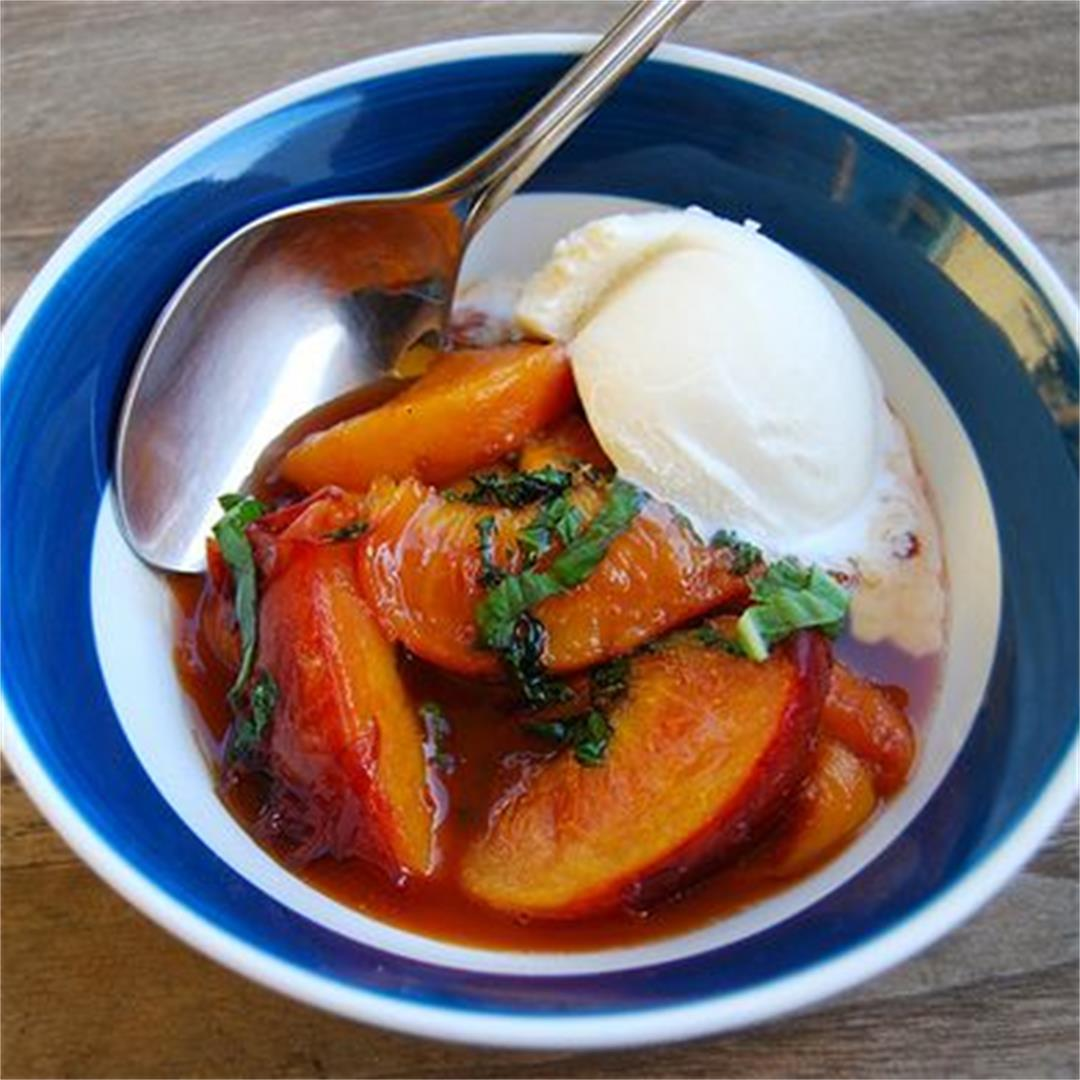 Warm Baked Peaches With Basil & Honey