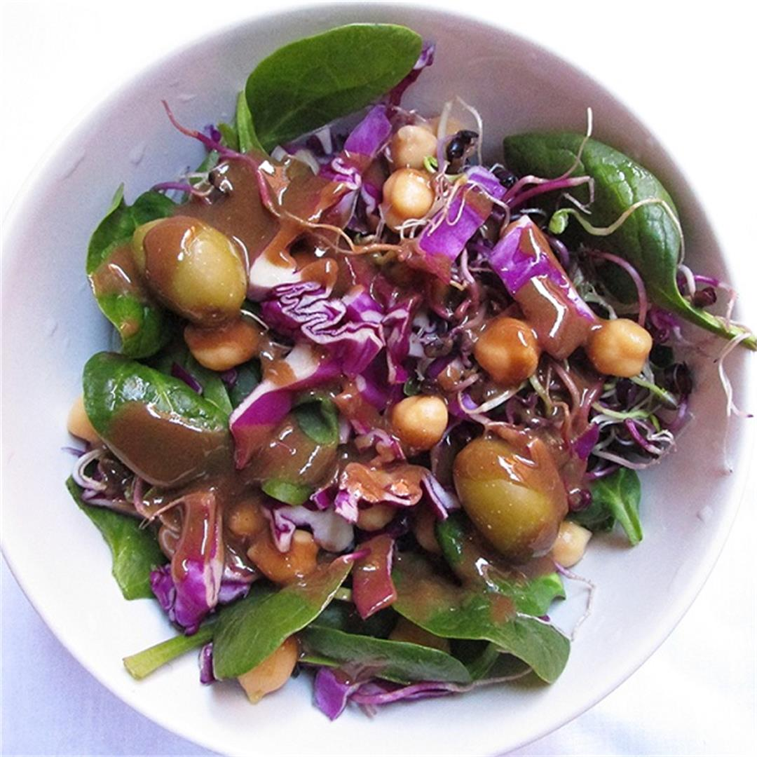 Red Cabbage Spinach Radish Sprouts Salad