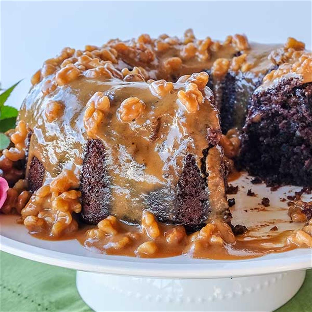 GF Chocolate Banana Bundt Cake With Coffee Walnut Glaze