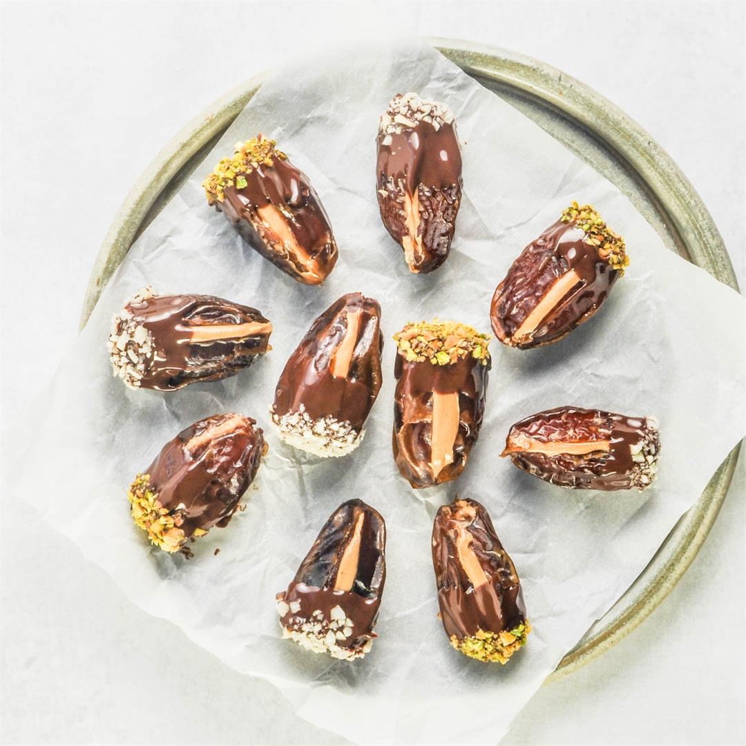 Peanut Butter Stuffed Chocolate Covered Dates