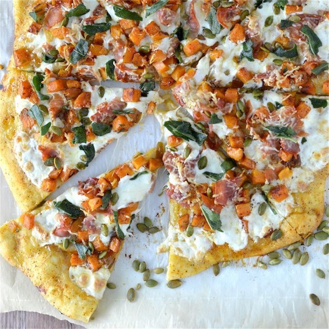 Roasted Butternut Squash Apple Pizza