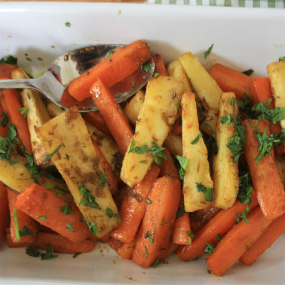 Coriander and Cumin Roasted Root Vegetables