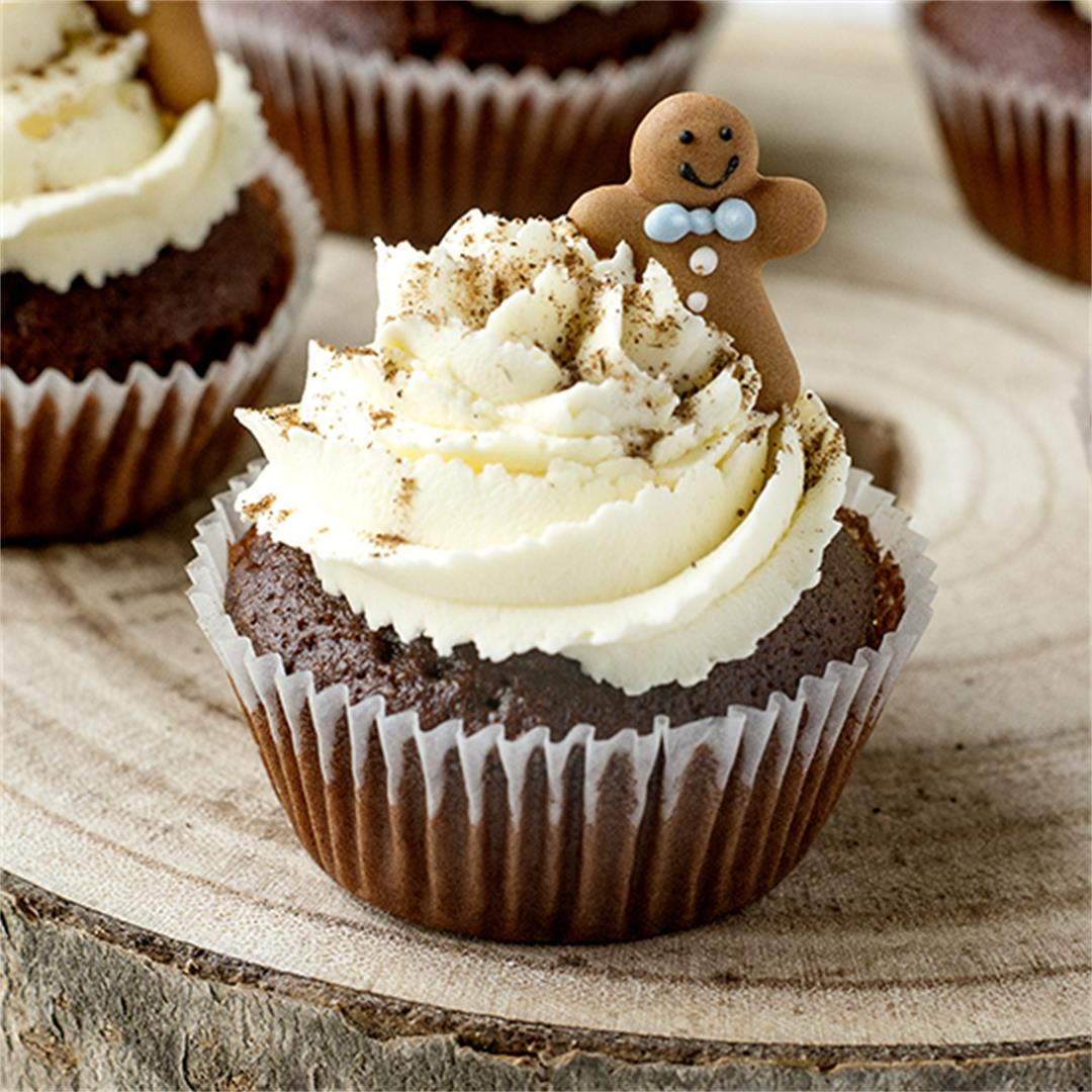 Spiced gingerbread cupcakes with cream cheese frosting