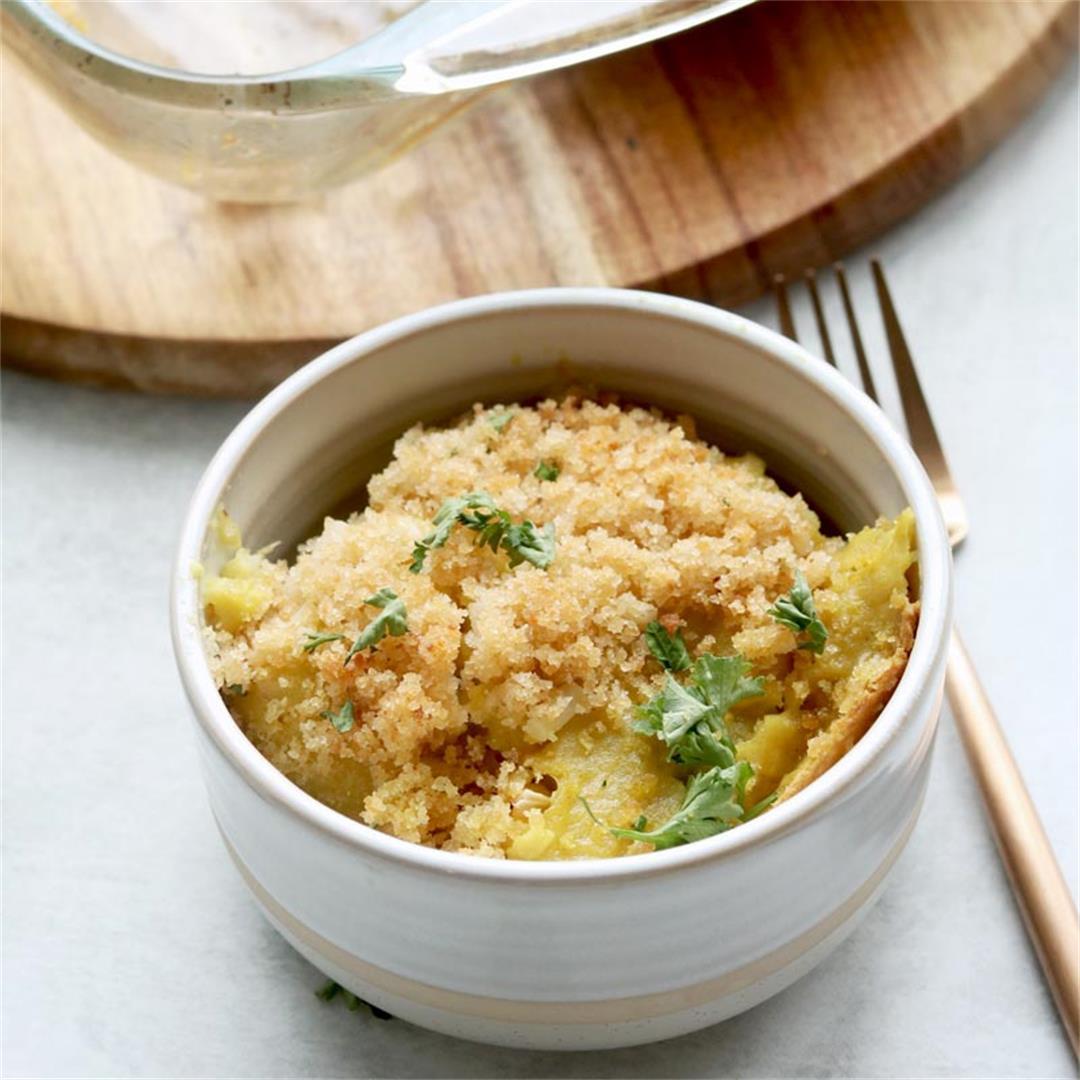 Vegan Cauliflower Gratin With Cultured Cashew Cheese