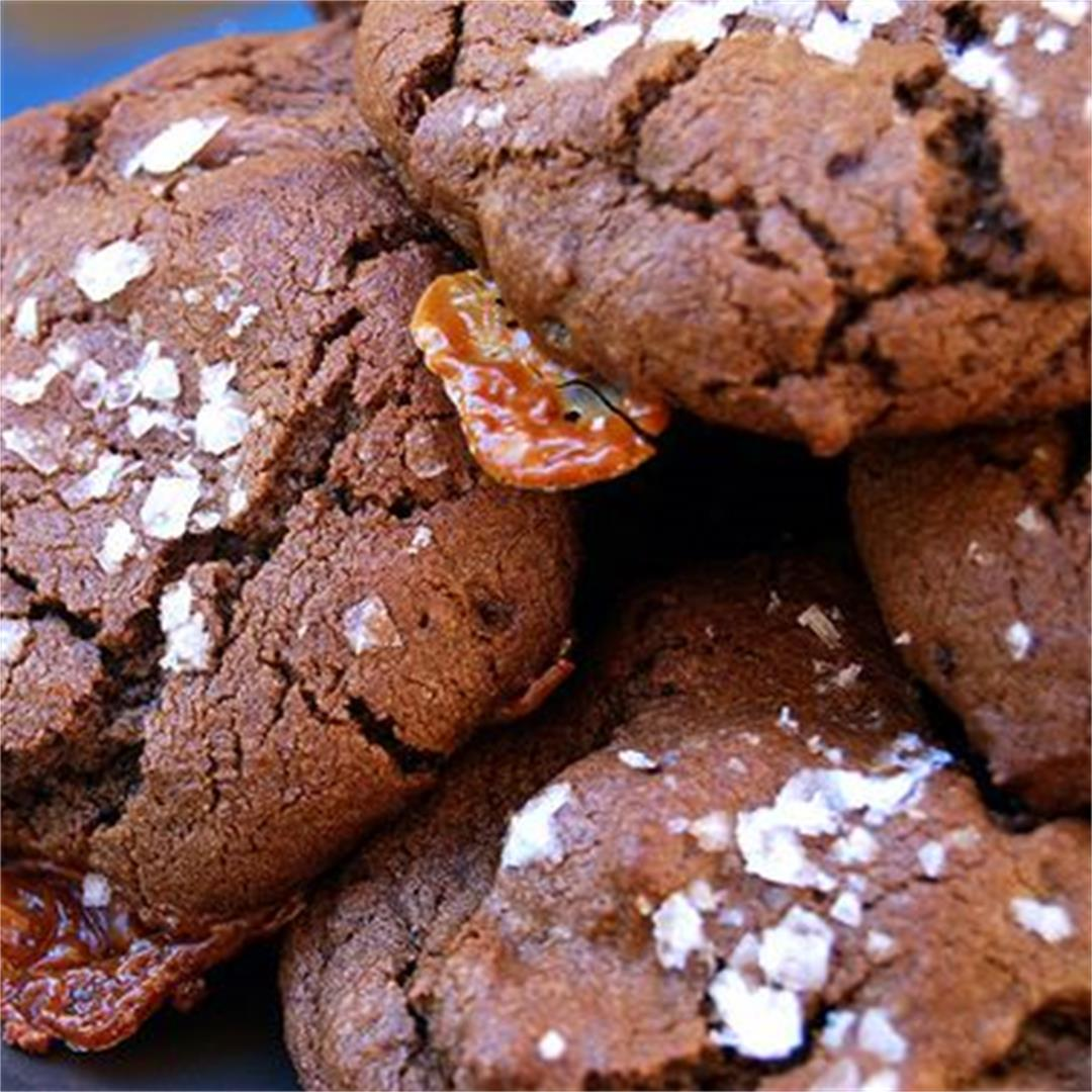 Salted Caramel Double Chocolate Rolo Cookies