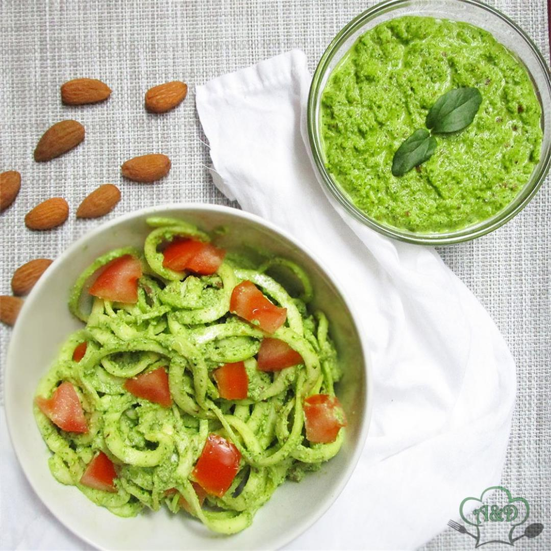 Zucchini Noodles With Vegan Almond Pesto