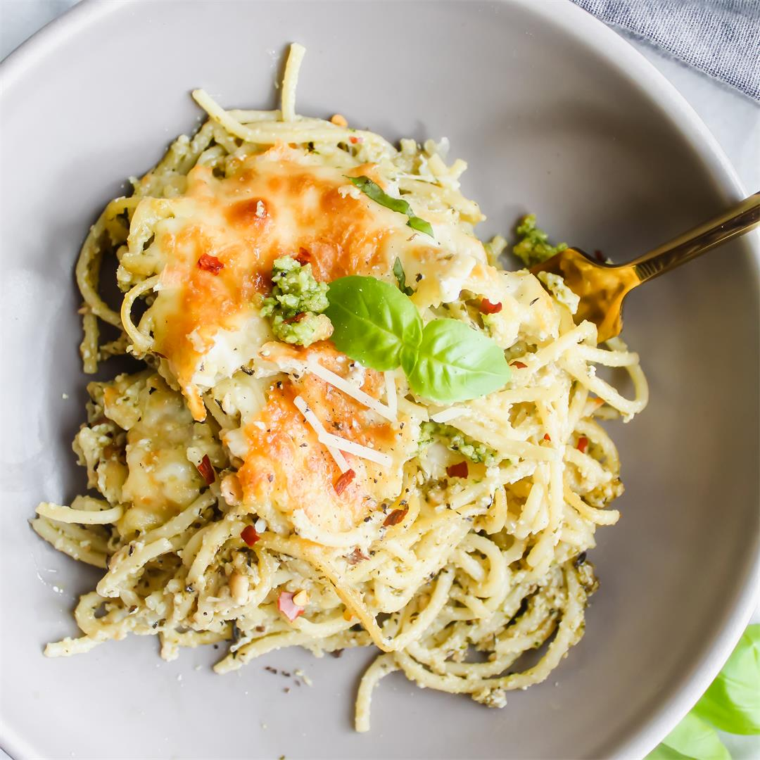 Cheesy Pesto Spaghetti Pie